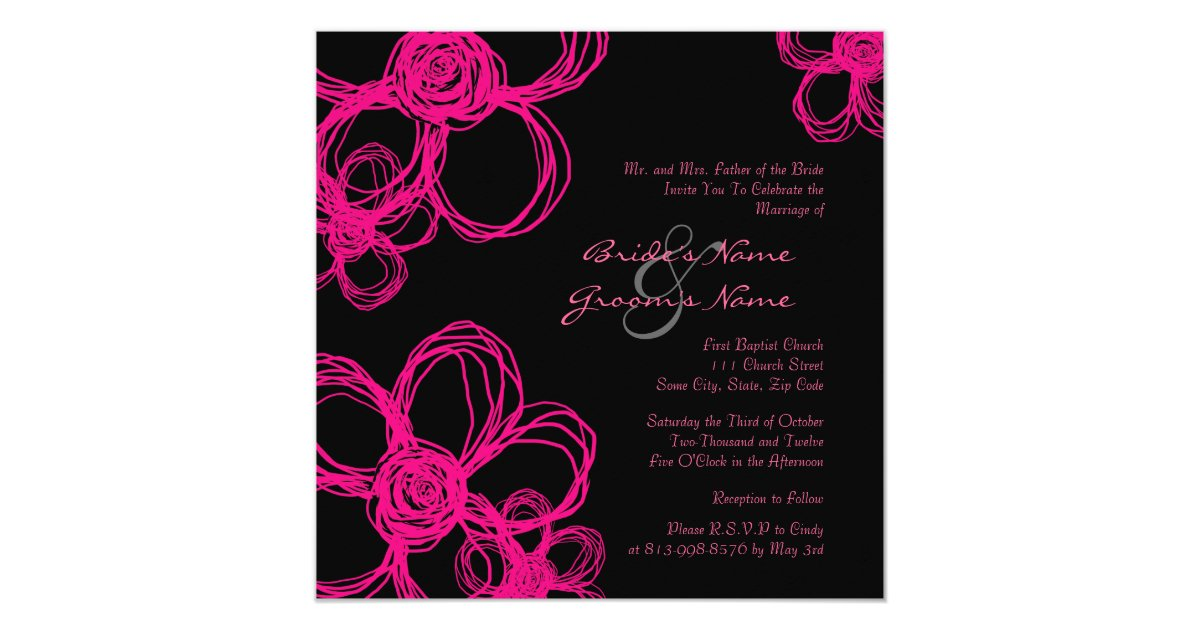 Black Pink Wedding Invitations: Pink And Black Wild Flowers Wedding Invitation