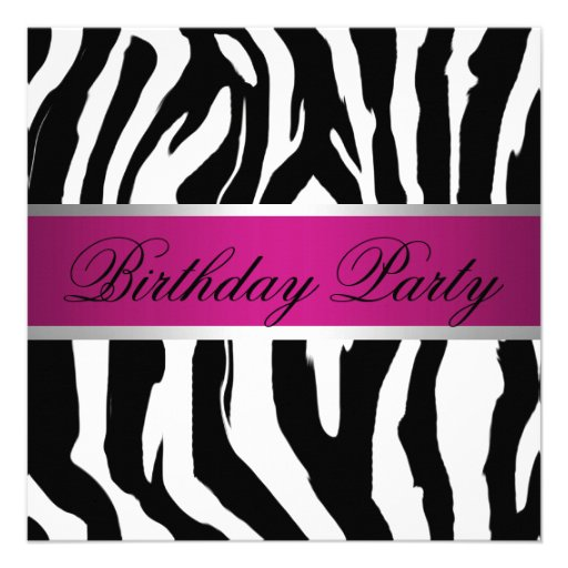 Pink And Black Zebra Birthday Party 5.25x5.25 Square Paper