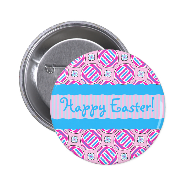 Pink and Blue Colorful Easter Eggs and Flowers 2 Inch Round Button