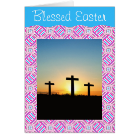 Pink and Blue Colorful Easter Eggs and Flowers Greeting Card