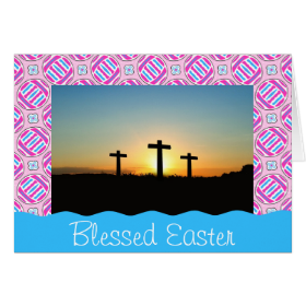 Pink and Blue Colorful Easter Eggs and Flowers Note Card