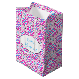 Pink and Blue Colorful Easter Eggs and Flowers Medium Gift Bag