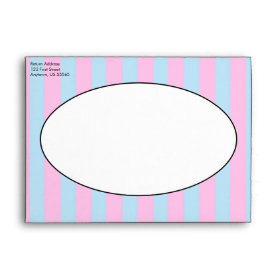 Pink and Blue Colorful Easter Eggs and Flowers Envelopes