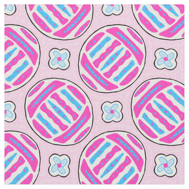 Pink and Blue Colorful Easter Eggs and Flowers Fabric