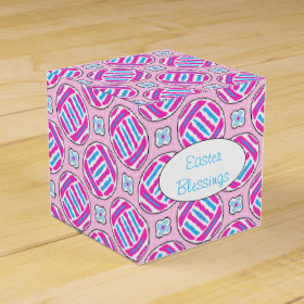 Pink and Blue Colorful Easter Eggs and Flowers Party Favor Boxes