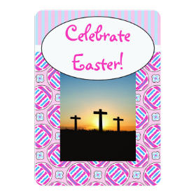 """Pink and Blue Colorful Easter Eggs and Flowers 5"""" X 7"""" Invitation Card"""