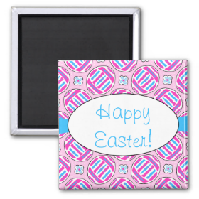 Pink and Blue Colorful Easter Eggs and Flowers 2 Inch Square Magnet