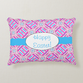 Pink and Blue Colorful Easter Eggs and Flowers Accent Pillow