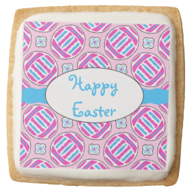 Pink and Blue Colorful Easter Eggs and Flowers Square Premium Shortbread Cookie