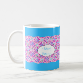 Pink and Blue Colorful Easter Eggs and Flowers Basic White Mug
