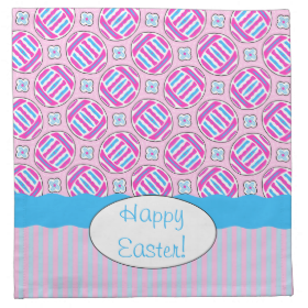 Pink and Blue Colorful Easter Eggs and Flowers Printed Napkins