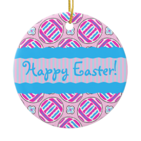 Pink and Blue Colorful Easter Eggs and Flowers Round Ceramic Ornament