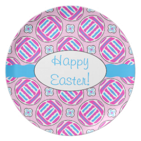 Pink and Blue Colorful Easter Eggs and Flowers Plate