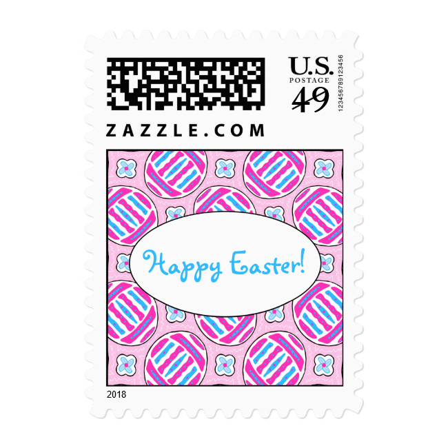 Pink and Blue Colorful Easter Eggs and Flowers Stamps