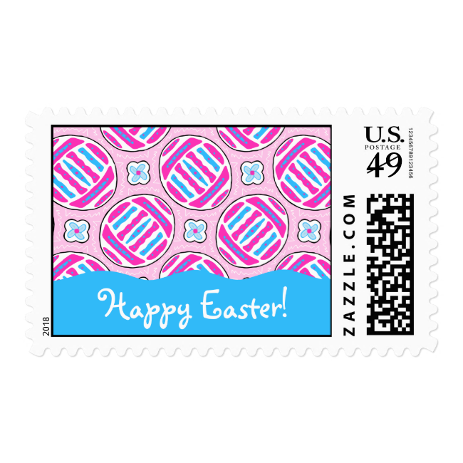 Pink and Blue Colorful Easter Eggs and Flowers Postage