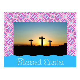 Pink and Blue Colorful Easter Eggs and Flowers Postcard