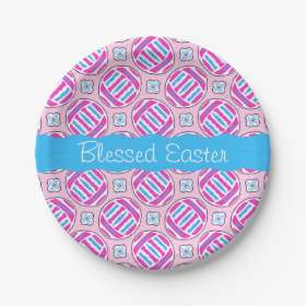 Pink and Blue Colorful Easter Eggs and Flowers 7 Inch Paper Plate