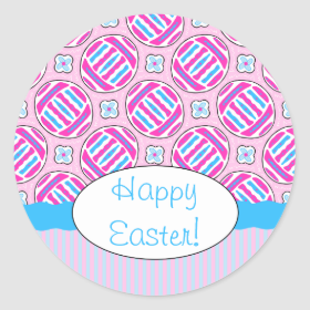 Pink and Blue Colorful Easter Eggs and Flowers Round Sticker