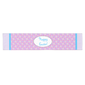 Pink and Blue Colorful Easter Eggs and Flowers Short Table Runner