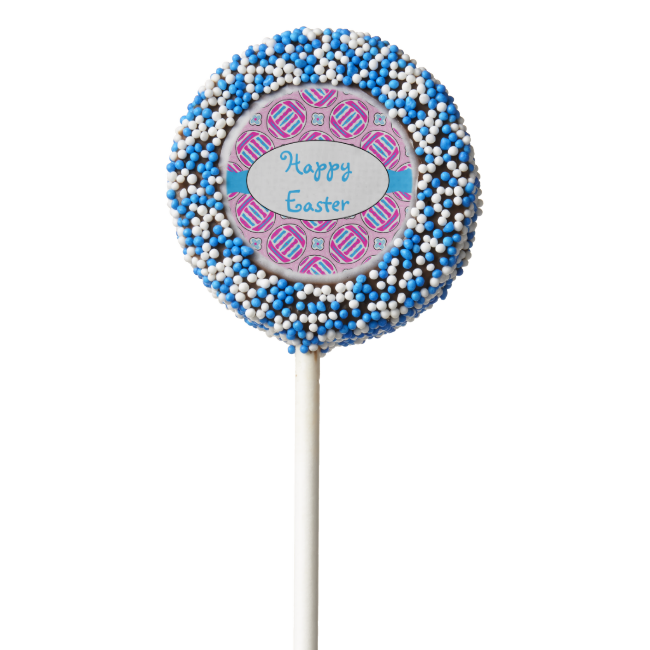 Pink and Blue Colorful Easter Eggs and Flowers Chocolate Dipped Oreo Pop