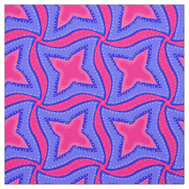 Pink and Blue Colorful Swirls Stars and Dots Fabric