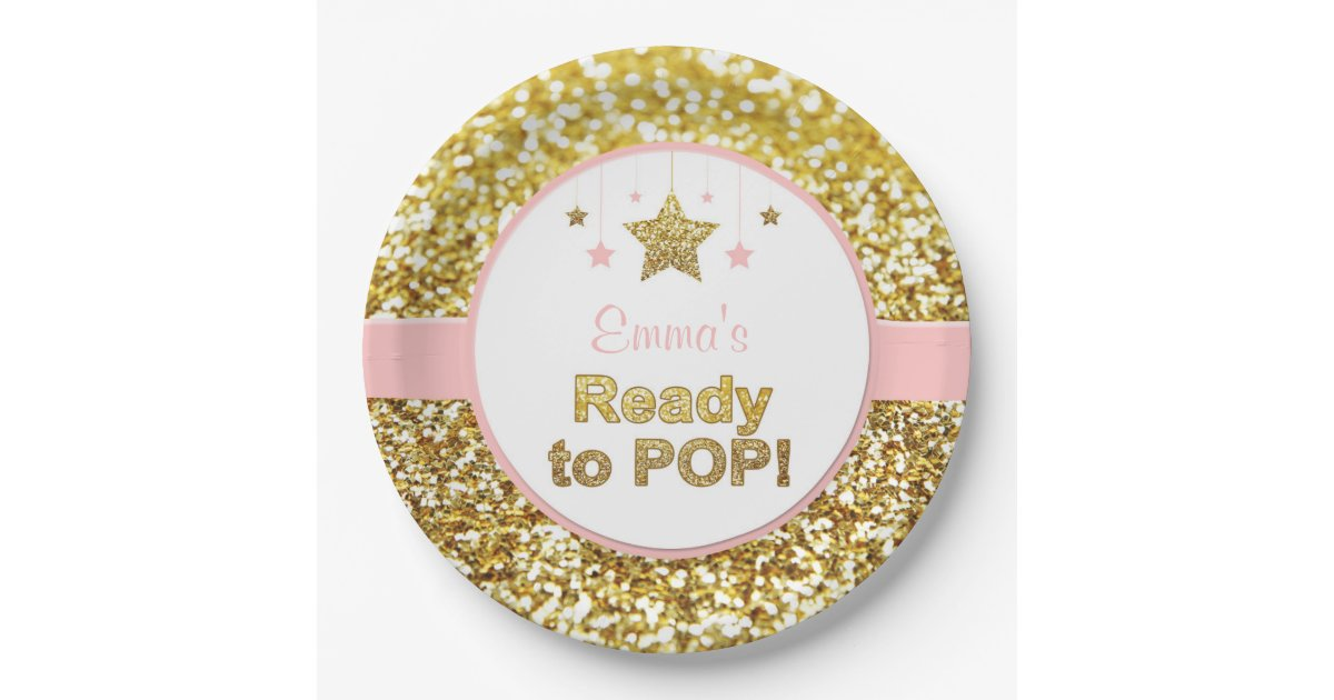 Pink And Gold Quot Ready To Pop Quot Baby Shower Plates Zazzle