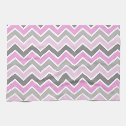 Monogram Kitchen Towels Pink and gray chevron pattern kitchen towel | Zazzle