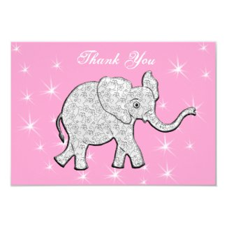 Pink and Gray Elephant Thank You Cards Baby Shower