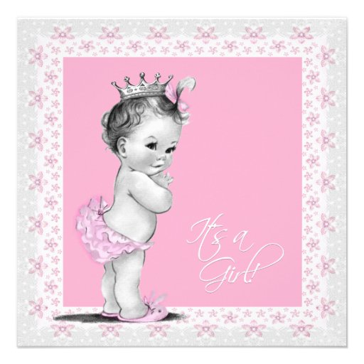 Vintage Baby Shower Invitations Girl: Pink And Gray Baby Girl Shower 5.25x5.25 Square Paper