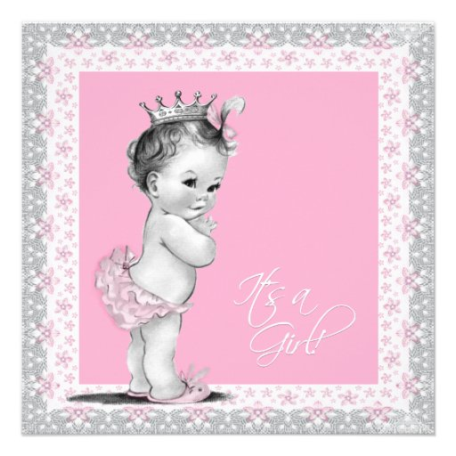 Vintage Baby Shower Invitations Girl: Pink And Gray Vintage Baby Girl Shower 5.25x5.25 Square