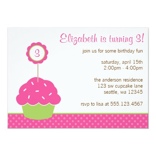 """A Cupcake Themed 1st Birthday Party With Paisley And Polka: Pink And Green Cupcake Polka Dot Birthday Party 5"""" X 7"""