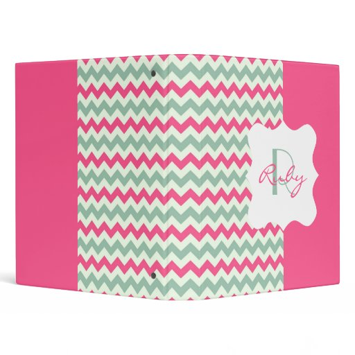 Pink And Light Teal Chevron Personalized Monogram 3 Ring