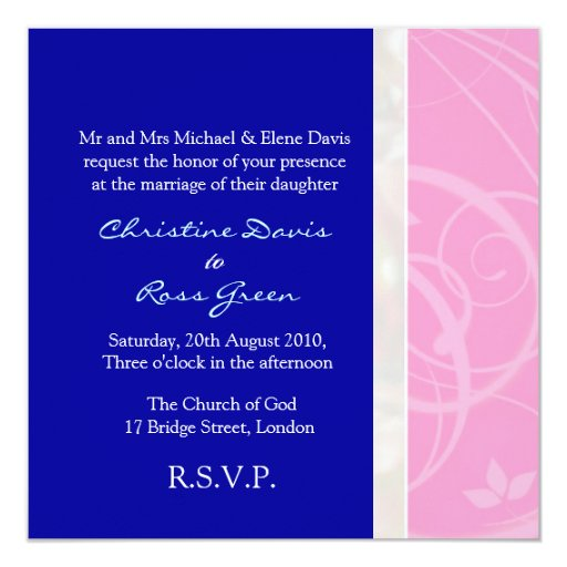 Pink And Navy Blue Wedding Invitations: Pink And Navy Blue Wedding Invitation