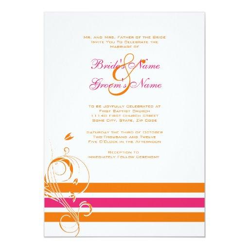 Pink Orange Wedding Invitations: Pink And Orange Floral Bars Wedding Invitation