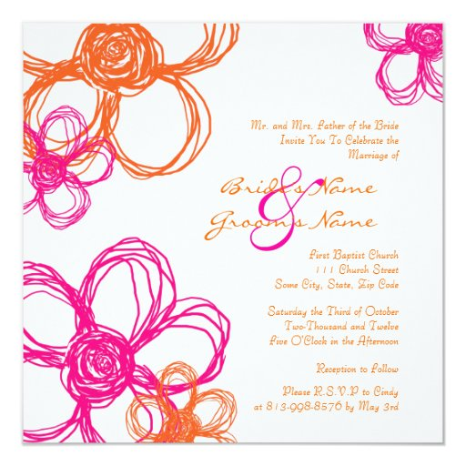 Pink Orange Wedding Invitations: Pink And Orange Wild Flowers Wedding Invitation