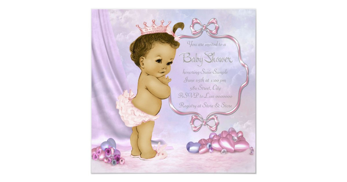Pink And Purple African American Baby Girl Shower Card