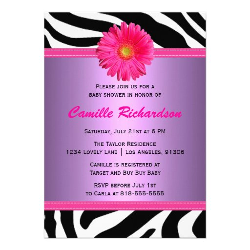 """Pink And Purple Daisy Baby Shower Invitation 5"""" X 7"""