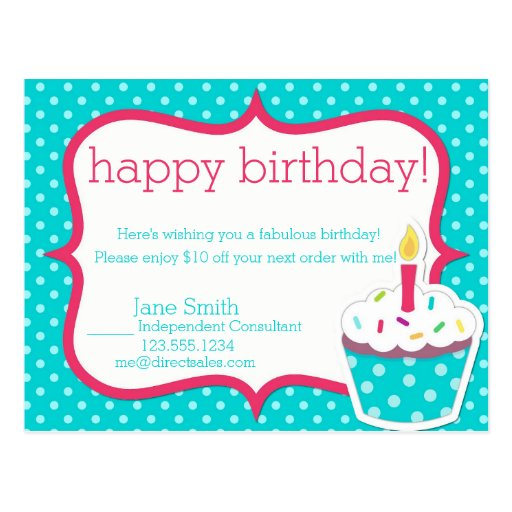 Pink And Teal Direct Sales Happy Birthday Postcard