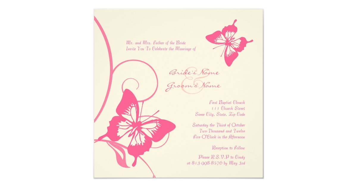 Wedding Butterfly Invitations: Pink And White Butterfly Wedding Invitation