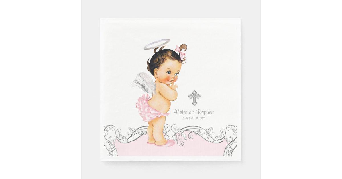 Pink Angel Baby Girl Baptism Christening Paper Napkin | Zazzle