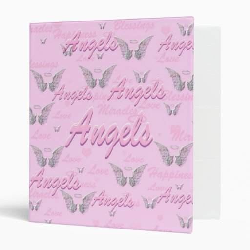 Pink Background With Angel WIngs Binders
