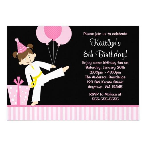 "Pink Balloons Taekwondo Karate Girl Birthday 5"" X 7"