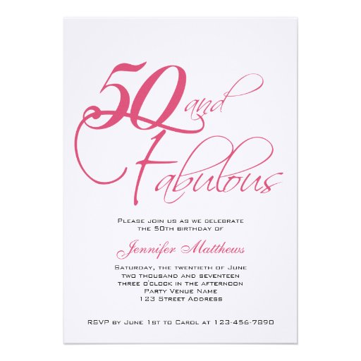 "50 And Fabulous Text: Pink Black 50th And Fabulous! Birthday Invitations 5"" X 7"