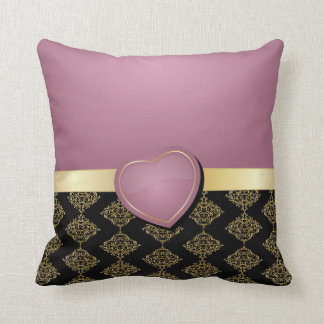 black and gold hearts pillows decorative throw pillows zazzle. Black Bedroom Furniture Sets. Home Design Ideas