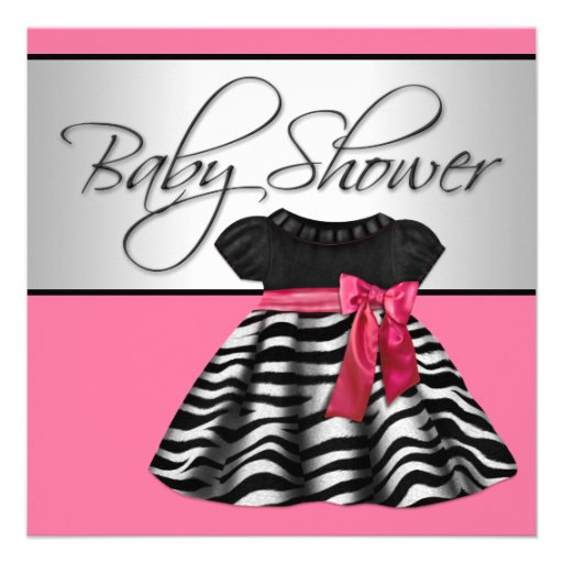 Pretty Dress Pink Zebra Baby Shower 5.25x5.25 Square Paper