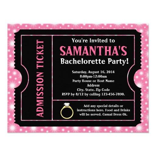 Shopping Pink Black Bachelorette Party Ticket Invitation