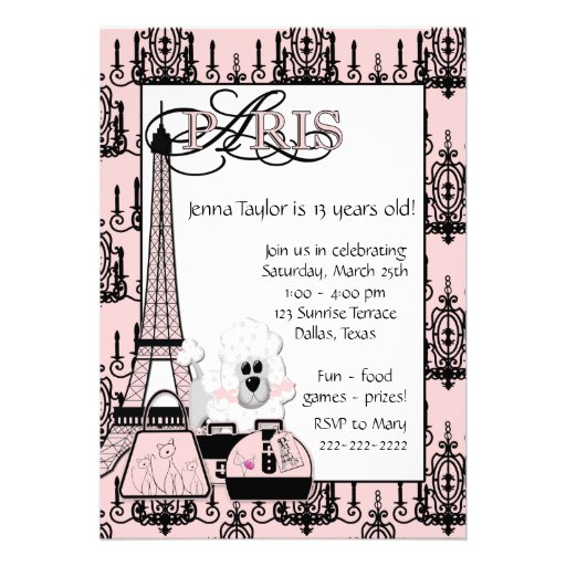 Pink Black Poodle Paris Girls Birthday Party Personalized Invite