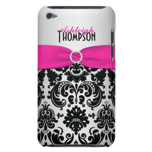 Pink, Black, Silver Damask iPod Touch Case   Zazzle