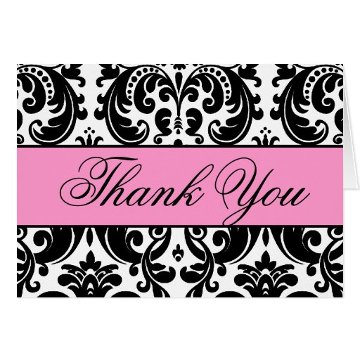 Pink Black White Damask Thank You Card | Zazzle