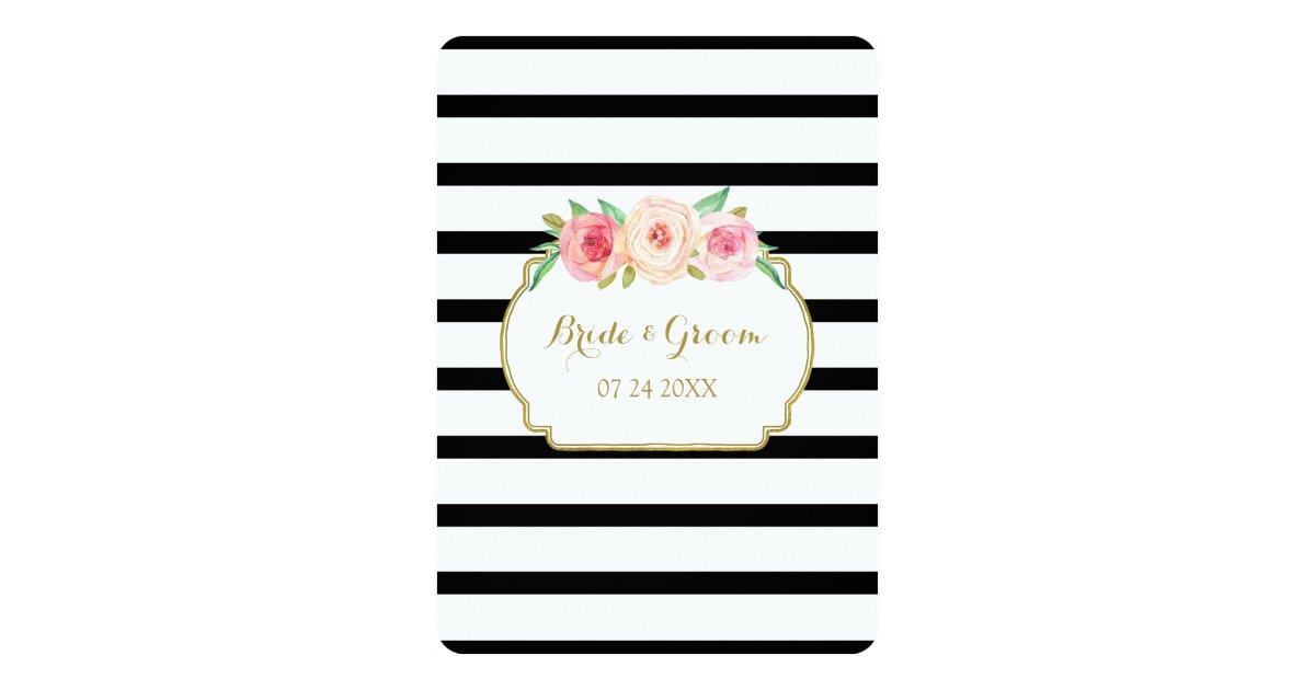 Black White Gold Wedding Invitations: Pink Black White Stripes Gold Wedding Invitations